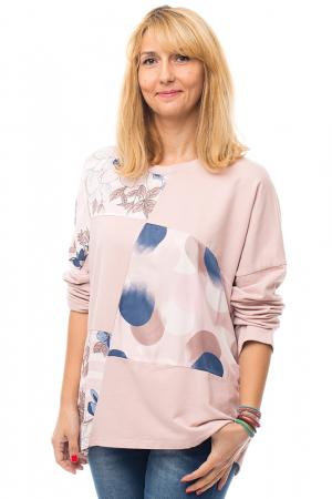 Bluza bumbac roz cu insertii de matase imprimata0