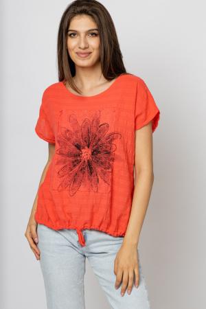 Bluza corai din bumbac cu floare stilizata pe piept si snur la poale [0]