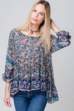 Bluza cu imprimeu floral pe fond bleumarin1
