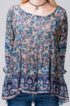 Bluza cu imprimeu floral pe fond bleumarin3