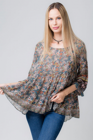 Bluza cu imprimeu floral pe fond gri [0]