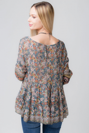 Bluza cu imprimeu floral pe fond gri [2]