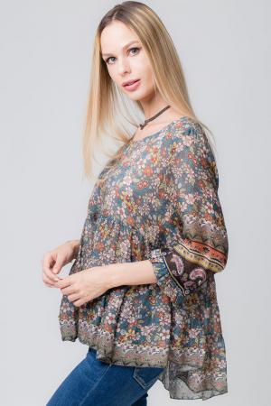 Bluza cu imprimeu floral pe fond gri [1]