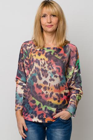 Bluza cu maneca fluture si imprimeu animal print0
