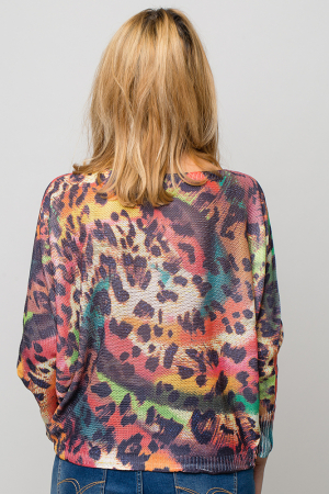 Bluza cu maneca fluture si imprimeu animal print2