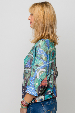 Bluza cu maneca fluture si imprimeu casute [1]