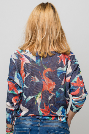 Bluza cu maneca fluture si imprimeu floral3