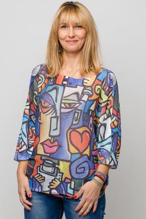 Bluza cu maneca fluture si imprimeu forme abstracte in stilul lui Picasso [0]