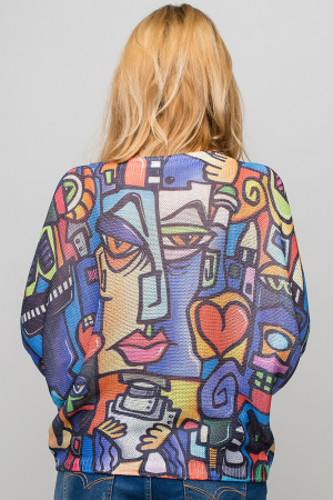 Bluza cu maneca fluture si imprimeu forme abstracte in stilul lui Picasso [2]