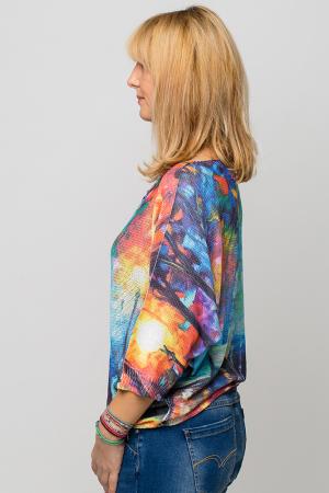 Bluza cu maneca fluture si imprimeu pereche de indragostiti1