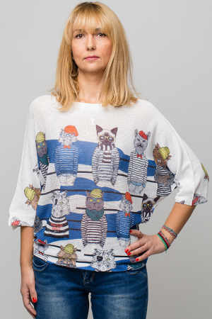 Bluza cu maneca fluture si imprimeu pisici cu tricouri dungate0