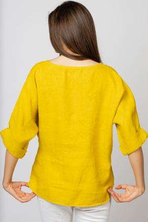 Bluza din in galbena masura mare cu nod pe talie [1]