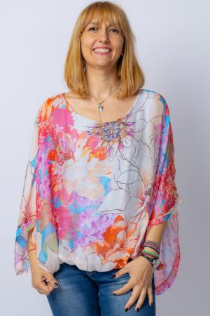 Bluza din matase naturala cu imprimeu floral, maneca fluture, interior albastru [0]