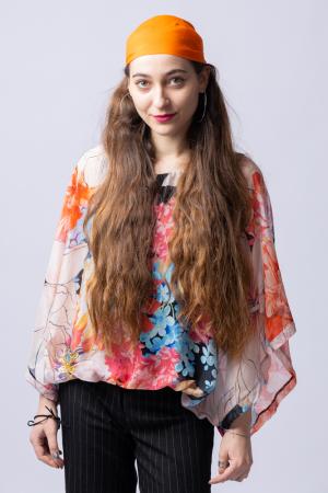 Bluza din matase naturala cu imprimeu floral, maneca fluture, interior negru [3]