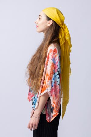 Bluza din matase naturala cu imprimeu floral, maneca fluture, interior negru [4]