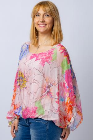 Bluza din matase naturala cu imprimeu floral, maneca fluture, interior roz [0]