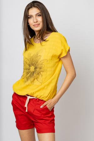 Bluza galbena din bumbac cu floare stilizata pe piept si snur la poale [0]