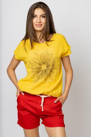 Bluza galbena din bumbac cu floare stilizata pe piept si snur la poale [1]