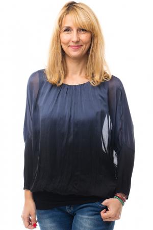 Bluza in degrade din matase naturala cu maneca lunga fluture si elastic la poale - bleumarin&negru0