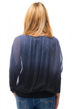 Bluza in degrade din matase naturala cu maneca lunga fluture si elastic la poale - bleumarin&negru2