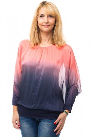 Bluza in degrade din matase naturala cu maneca lunga fluture si elastic la poale - corai & bleumarin [0]