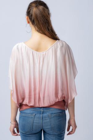 Bluza in degrade din matase naturala cu maneca scurta fluture si elastic la poale roz pal & roz pudra [2]
