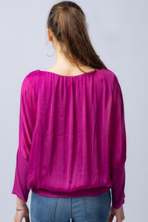 Bluza mov zmeura uni din matase naturala cu maneca lunga fluture si elastic la poale [2]