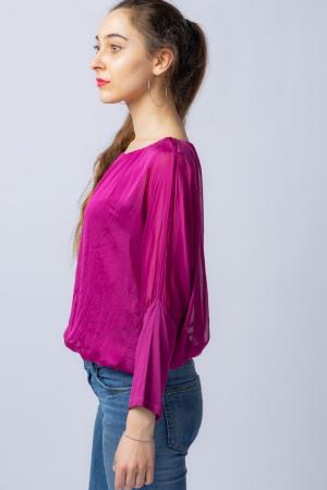 Bluza mov zmeura uni din matase naturala cu maneca lunga fluture si elastic la poale [4]