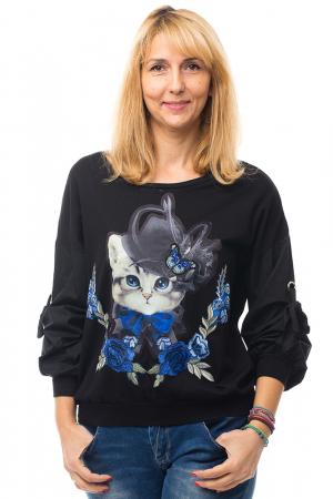 Bluza neagra din tricot cu model pisica si broderie aplicate [0]