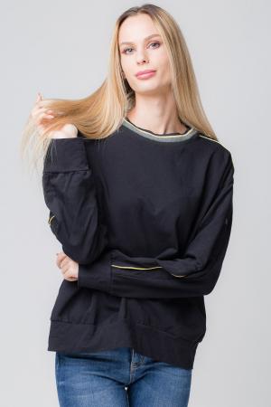 Bluza neagra din tricot  cu vipusca galbena si capse pe maneci0