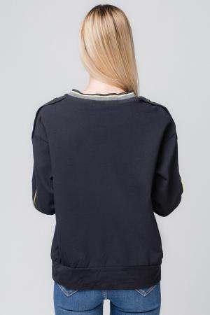 Bluza neagra din tricot  cu vipusca galbena si capse pe maneci1