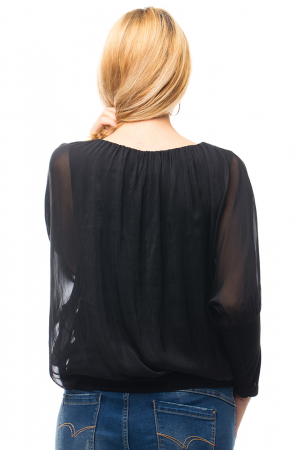 Bluza neagra uni din matase naturala cu maneca lunga fluture si elastic la poale [2]