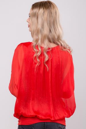 Bluza rosie uni din matase naturala cu maneca fluture si elastic la poale3