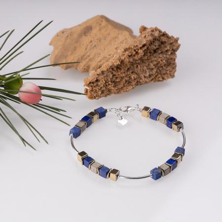 Bratara argint cu tuburi si serii de 5 cubulete din lapis lazuli si hematit auriu [0]