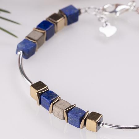 Bratara argint cu tuburi si serii de 5 cubulete din lapis lazuli si hematit auriu [1]