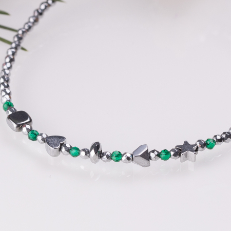 Bratara argint subtire din hematit argintiu si cubic zirconia verde [1]