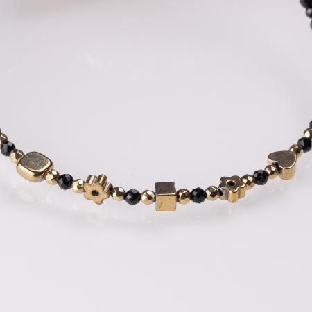 Bratara argint subtire negru-auriu din cubic zirconia si hematit [1]