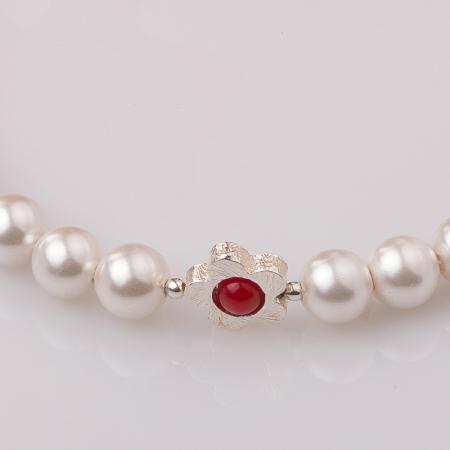 Bratara cu perle sintetice si floare din argint [1]