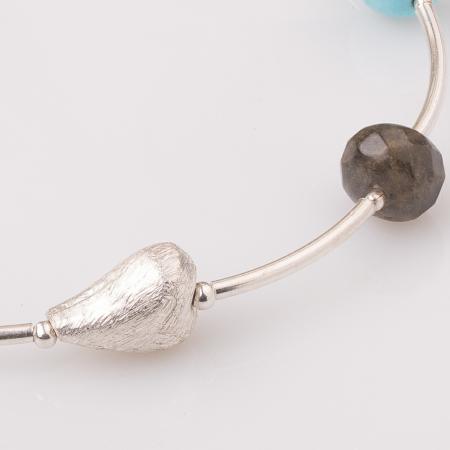 Bratara cu tuburi, labradorit si inima din argint [1]