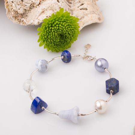 Bratara cu tuburi, lapis lazuli si floare din calcedonie [0]