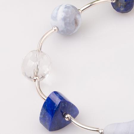 Bratara cu tuburi, lapis lazuli si floare din calcedonie [2]