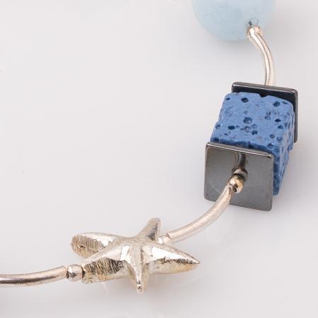 Bratara cu tuburi, lapis lazuli si stea de mare din argint1