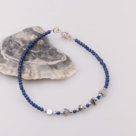 Bratara subtire bleumarin-argintiu din cubic zirconia si hematit0