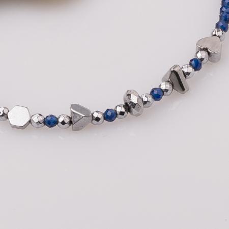 Bratara subtire bleumarin-argintiu din cubic zirconia si hematit [1]