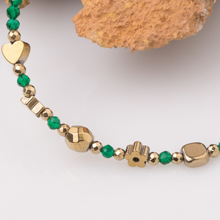 Bratara argint subtire verde-auriu din cubic zirconia si hematit [1]