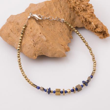 Bratara subtire din hematit auriu si lapis lazuli [0]