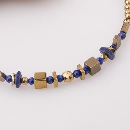 Bratara subtire din hematit auriu si lapis lazuli [1]