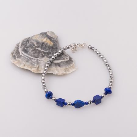 Bratara subtire din hematit cu lapis lazuli0