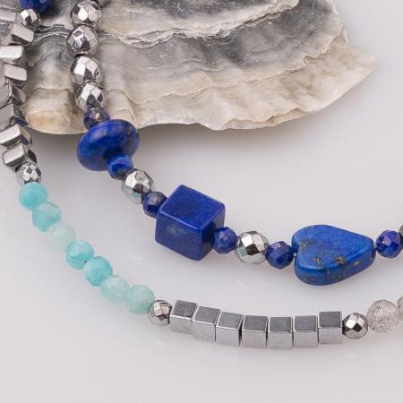 Bratara subtire din hematit cu lapis lazuli1