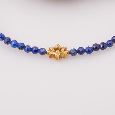 Bratara argint subtire din lapis lazuli fatetat si steluta din argint aurit [1]
